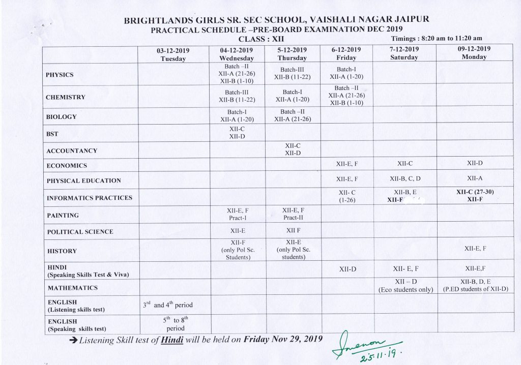 Date Sheet Pre-Board Practical Exam Dec 2019
